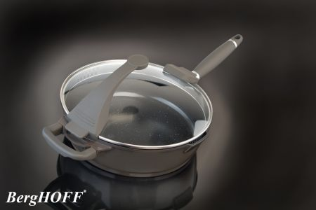Diepe aluminium braadpan 28cm – zwart