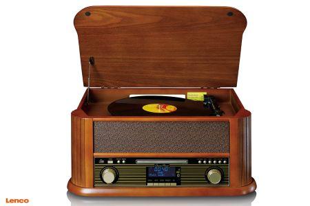 Retro platenspeler met usb-aansluiting, DAB+ radio, cd- en cassettespeler